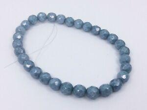 30 Genuine Czech Fire Polished Glass Faceted Beads Light Denim Blue 8mm HE09
