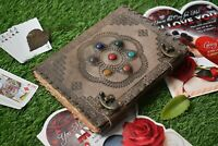 seven stone chakra leather journal embossed celtic deckle edge paper 10x7 inch