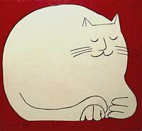 M P 1996 MODERNIST FOLK CAT PORTRAIT FIGURE STUDY PAINTING ON WOOD BOARD
