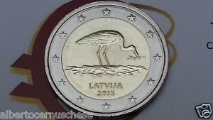 2 euro 2015 LETTONIA Cicogna cigogne stork Lettonie Lettland Latvia Латвия аист