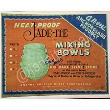 Fire King Jadite / Jadeite / Jade-ite Swirl Mixing Bowls Box Decal Photo