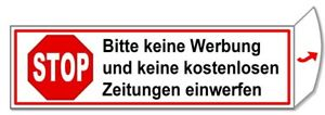Keine Werbung-Keine Zeitung-Briefkasten-Schild-70x20 mm-Türschild-Folienschild