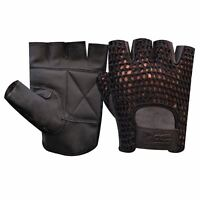 MESH LEATHER FINGERLESS GLOVES GYM WEIGHT TRAINING BUS DRIVING WHEELCHAIR - 405