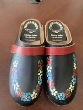 VTG Made Sweden Clogs Wood/Leather Embroidered Floral Shoes Size 36 - US 5.5-6