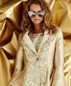 BNWOT Trelise Cooper Gold Woven Brocade Jacket Size 8 RRP $824