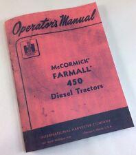 FARMALL 450 DIESEL TRACTORS OPERATORS OWNERS MANUAL INTERNATIONAL IH FUEL PUMP