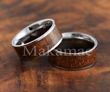 Tungsten  Inlaid Koa Wood  Wedding Ring 8mm
