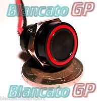 PULSANTE PIEZOELETTRICO 16mm NERO LED ROSSO 12V auto piezo switch interruttore