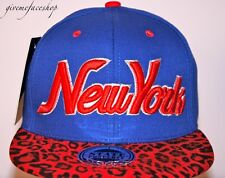 New York Leopard Snapback caps, NY dope flat peak baseball fitted hats royal