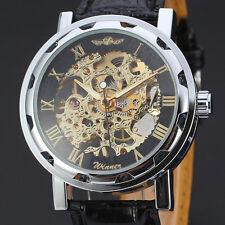 Luxus Edelstahl Skelettuhr Leder Herrenuhr Automatik Mechanische Uhr Armbanduhr