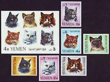 Yemen Kingdom  1965  Cats  ** MNH  complete set (6v+1 S/S), Mi.28,0 €