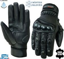 SHORT THERMAL WINTER CARBO KNUCKLE MOTORBIKE MOTORCYCLE MOTOCROSS LEATHER GLOVES