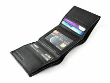 New Black Leather Men's Small RFID Slim Trifold Wallet Credit Card ID Holder