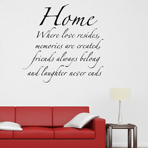 Home Where Love Resides V2 Quote Wall Sticker Decal Transfer Family  Vinyl UK