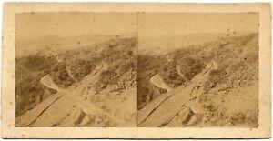 Eugène Sevaistre Caltanissetta Panorama Rare Stereo card Albumen ph. 1860c S1086