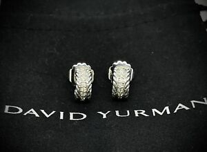 David Yurman Sterling Silver & Diamond 12'mm Classic Cable Hoop Huggie Earrings