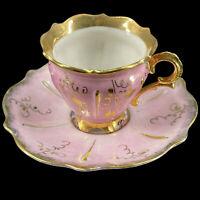 Vintage Germany Porcelain Demitasse Souvenir Footed Pink Cup Saucer Cape May NJ
