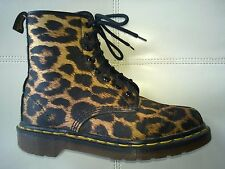 DOC DR MARTENS SATIN LEOPARD BOOTS RARE VINTAGE MADE IN ENGLAND UNISEX 5UK 7W 6M