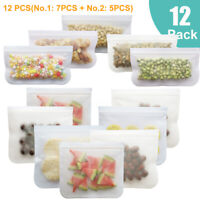 3-12PCS Reusable Silicone Food Storage Bags Seal Leakproof Container Stand Set ❤