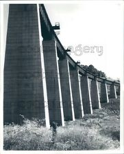 Concrete & Steel High Railroad Bridge West Virginia Press Photo