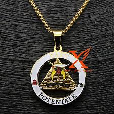 """Stainless Steel 18K Gold Past Potentate Shriner Car Emblem Pendant Necklace 24"""""""