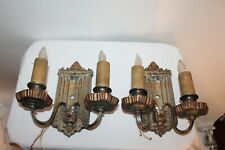 Antique Victorian Wall Sconce Light Fixtures Pair Shield Crest Design
