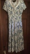 VTG DECKED OUT BLUE FLORALS PRARIE DRESS~Lace Collar Corset Tie Back Wide Sweep