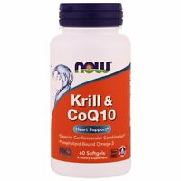 Now Foods Krill & CoQ10 Heart Support - 60 Softgels OMEGA-3, DHA, EPA