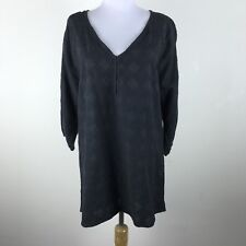 Joie A La Plage Blouse Size S Black Embroidered Floral 3/4 Sleeves Tunic Womens