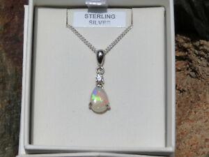 Solid Opal Pendant, teardrop (8x5mm),set in Sterling Silver 925, Australian Opal