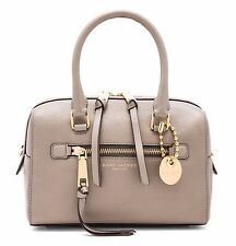 NWT $395 MARC Jacobs Leather Recruit Small Bauletto Satchel Mink Taupe BrownGold