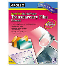 Apollo Color Inkjet QuickDry Transparency Film Removable Stripe Letter Clear