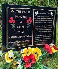 THE LITTLE BOOK OF MEMORIES PERSONALISED MEMORIAL  PLAQUE ,MUM,DAD,GRAN,SON,ETC.