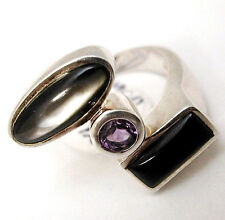 Sterling silver .925 amethyst, onxy abalone modern fashion ring size 7