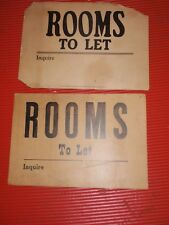 2 ANTIQUE ROOMS FOR RENT SIGNS  ' ROOMS TO LET '