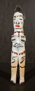Antique Native Southwestern Latin American Wooden Doll Painted Stumped #1 yqz