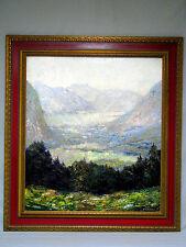 """Gemälde von Otto Pippel """"Blick auf Lahn am Hallstätter See"""" Öl auf Lwd. um 1900"""