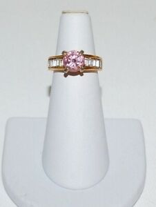 Vintage 18K GE Pink Stone Clear Baguettes Ring Gold Tone Size 5.5