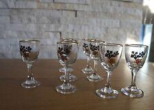 More details for set of 8 shot/shery glasses vodka vintage gilded glass crystal 1950/60s