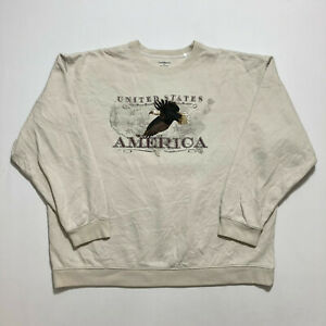 Croft & Barrow Mens Sweatshirt Hawk Embroidered USA Crew Neck Jumper Size XL