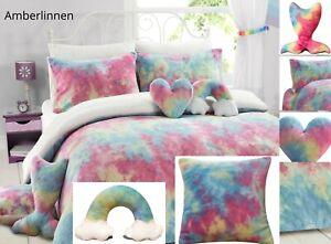 Teddy Fleece Rainbow Tie Dye Duvet Quilt Cover Super Soft Kids Bedding Set