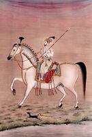 Mughal Emperor Shahjahan on Horse Riding with weapons Mughal Miniature painting