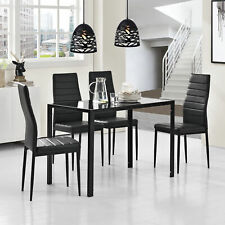 [en.casa]® Esstisch + 4 Stühle schwarz Küchentisch Esszimmertisch Glas Tisch