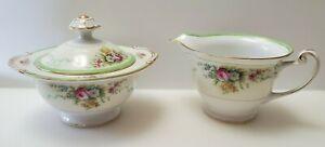 Vintage Grace Japan China Formal Garden Sugar Bowl And Creamer Set