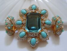 Truly Stunning Vintage JOMAZ Brooch and Clip Earring Set