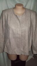 Grey Pink BOUCLE button front Coat Jacket poly lined WOOL blend PLEAT back 22