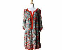 Sami + Dani Multi-Color Paisley Tunic Dress Size 1X Cold Shoulder 100% Rayon