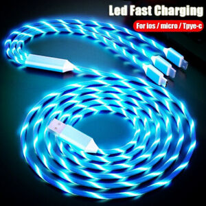 LED Light Up Flowing Glowing Fast Charging Phone Charger Cable Cord Type-C IOS