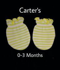 NWOT Baby girl 0-3 Months lime Green/White Striped Cotton Mittens.
