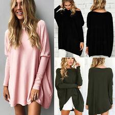 Maglione da donna larga casual camicia blusa maniche a pipistrello pullover